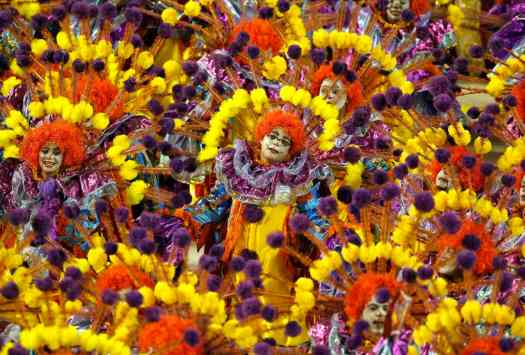 Revellers of the Unidos da Tijuca samba school participate in the annual Carnival parade in Rio
